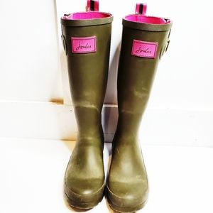 Joules Tall Olive Green Pink Rain Boots Wellies